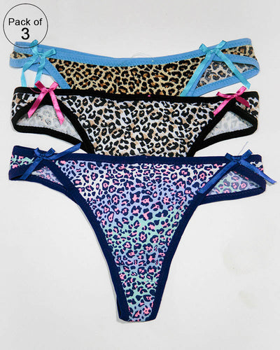 Pack of 3 Womens Thong Underwear Panties – AF-109 – Mix Colors