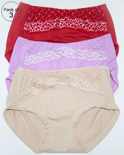 Pack of 3 Womens Soft Cotton Underwear – AF-111 – Mix Colors
