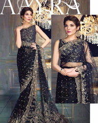 Aayra Collection Chiffon Embroidered Saree Exclusive Replica (Replica)(Unstitched)