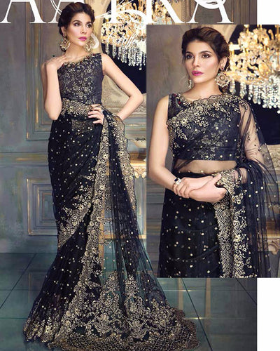 Aayra Collection Chiffon-03 Embroidered Saree (Replica)(Unstitched)