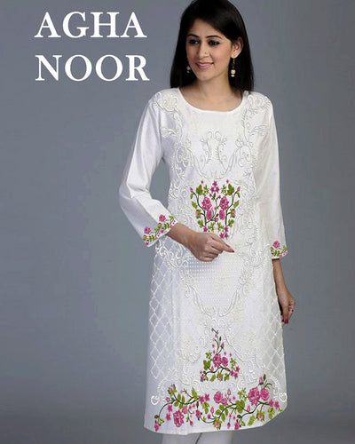 Agha Noor Kurti Made On Chiffon Full Heavy Embroidered Collection (Replica)(Unstitched)