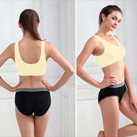 Stretchable Sports Bra - Aire Bra - 2B-104 - Light Yellow - Bras - diKHAWA Online Shopping in Pakistan