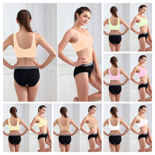 Pack of 3 Stretchable Sports Bra - Aire Bra - 2B-107 - Mix Colours - Bras - diKHAWA Online Shopping in Pakistan