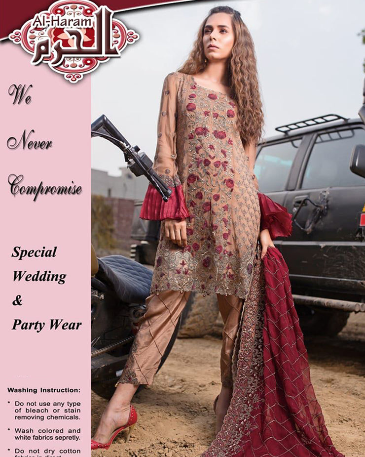 Al Haram Heavy Embroidered Chiffon Panels Style With Complete heavy Embroidered Dupatta (Replica)(Unstitched)