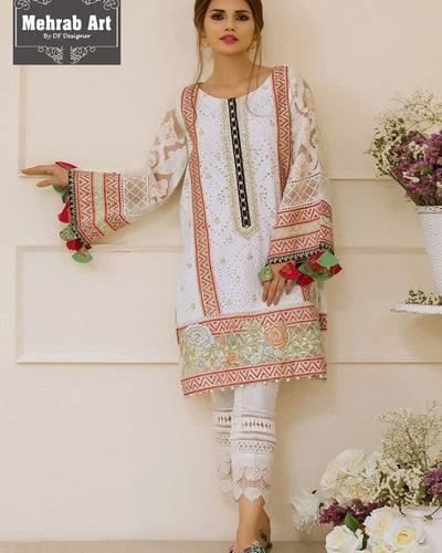 Anas Abrar Chikken Suit With Printed Soft Chiffon Silk Duptta (Replica)(Unstitched)