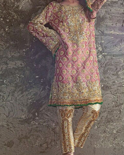 Anas Abrar Luxury Collection Full Suit On Maysoori Fabric With Net Embroidered Dupatta (Replica)(Unstitched)