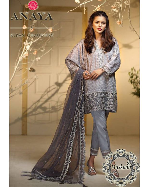Anaya Chiffon Collection With Net Embroidered Dupatta (Replica)(Unstitched)