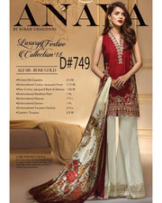 Anaya Printed & Full Embroidered With Printed chiffon Dupatta (Replica)(Unstitched)