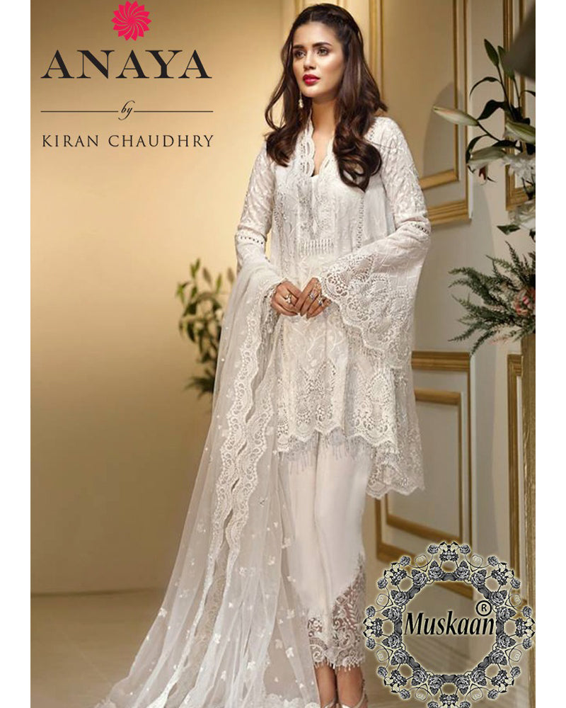 Anaya Chiffon Collection With Embroidered Cutwork Net Dupatta (Replica)(Unstitched)