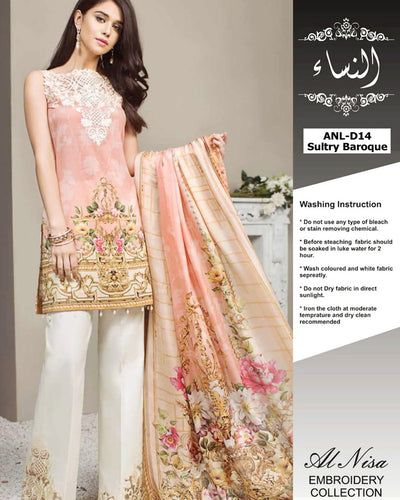Anaya Digital Printed Lawn With Silk Digital Printed Dupatta ANL-D14 (Replica)(Unstitched)