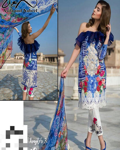 Asifa Nabeel Lawn Collection With Printed Digital Silk Dupatta (Replica)(Unstitched)