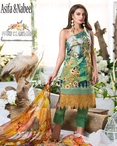 Asifa Nabeel Pure Lawn With Digital Printed Silk Dupatta (Replica)(Unstitched)