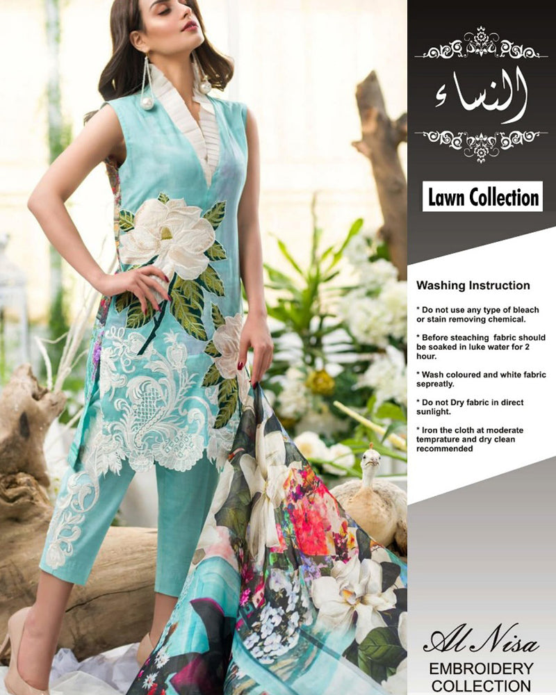 Buy Asifa Nabeel Lawn With Broshia Dupatta (Replica)(Unstitched) Online in Karachi, Lahore, Islamabad, Pakistan, Rs.{{amount_no_decimals}}, Ladies Replica Suit Online Shopping in Pakistan, Asifa Nabeel, 3PC Unstitched Suits, Brand = Al Nisa, Clothing, Collection = Asifa Nabeel Lawn Collection, Dupatta = Broshia Dupatta, Lawn Suits, Material = Lawn, Replica Lawn Suits, Replica Suits, Size = Unstitched, Style = Printed & Embroidered, Unstitched Suits, Women, Womens Pakistani Clothing, Online Shopping in Pakistan - diKHAWA Fashion