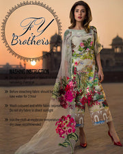 Asifa Nabeel Lawn With Net Embroidered Dupatta (Replica)(Unstitched)
