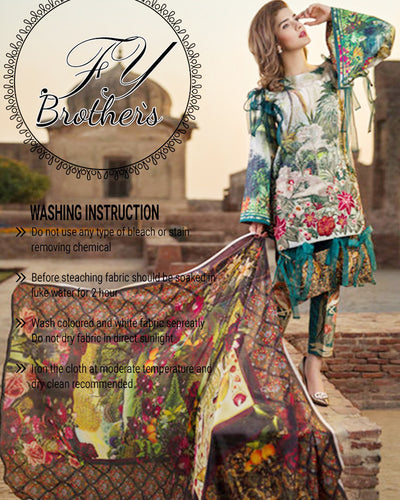 Asifa Nabeel Lawn Collection With Digital Printed Silk Dupatta (Replica)(Unstitched)