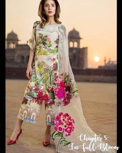 Asifa Nabeel Master Replica Lawn With Net Pallu Emb Dupatta With Aplic Pearls (Replica)(Unstitched)