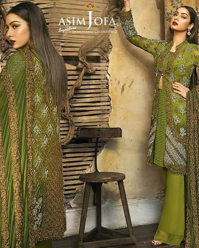 Asim Jofa Chifoon Collection Embroided Suit With Chiffon Dupatta (Replica)(Unstitched)