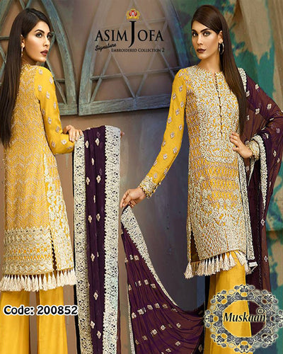 Asim Jofa Signature Chiffon Vol 2 With Gota Work - AJ 04B  (Replica)(Unstitched)