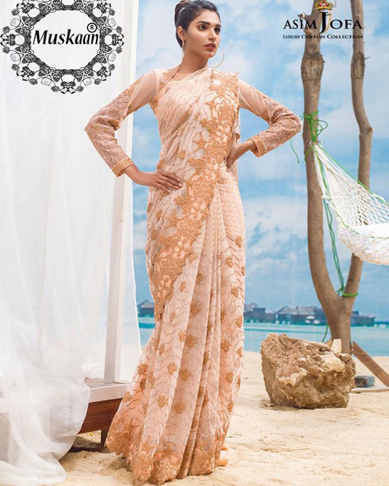 Asim jofa Luxury Net Saree (Replica)(Unstitched)