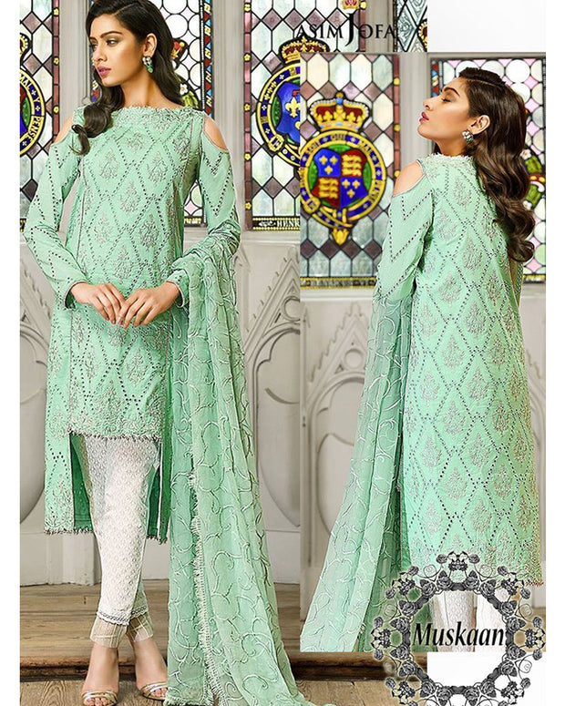 Asim Jofa Lawn Collection With Embroidered Dupatta With Lace (Replica)(Unstitched)