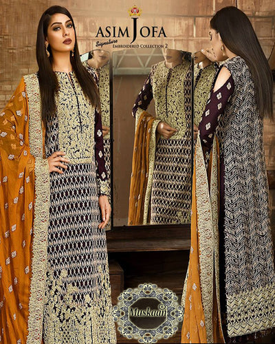 Asim Jofa Signature Chiffon Vol 2-AJ 04A (Replica)(Unstitched)