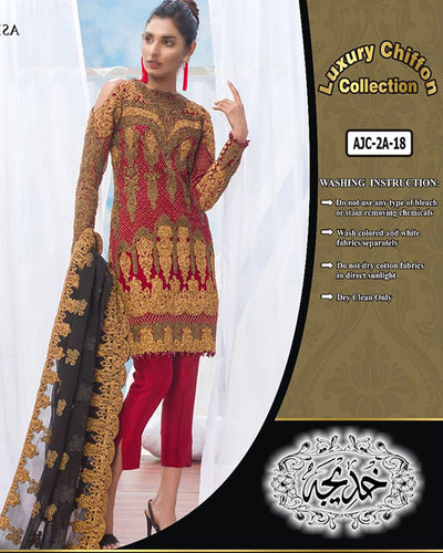Asim Jofa Lawn With Chiffon Embroidered Anchor Work Dupatta (Replica)(Unstitched)