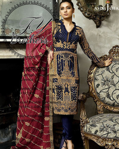 Asim Jofa Chiffon Collection With Semi Pure Chiffon Dori Embroidered Dupatta (Replica)(Unstitched)