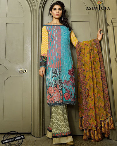 Asim Jofa Master Replica Lawn Collection - 3 Piece Suit - (Replica)(Unstitched)