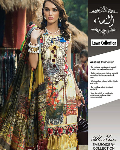 Ayesha Ibrahim Lawn With Silk Dupatta (Replica)(Unstitched)