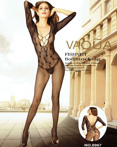 Vaqua Body Stocking Fishnet Dress - Ladies Sexy Net Dresses - 8967