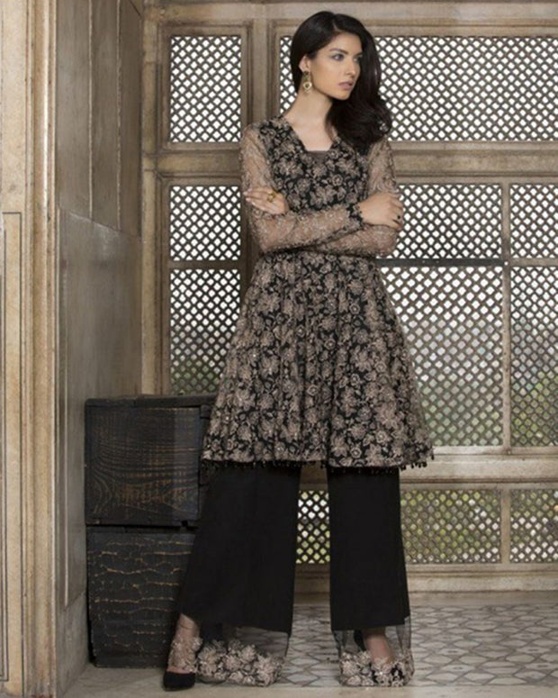 BAREEZE Polyester NET FANCY WORK CLASSIS NET PRE WEDDING COLLECTION BY SANA DESIGNER (Replica)(Unstitched)