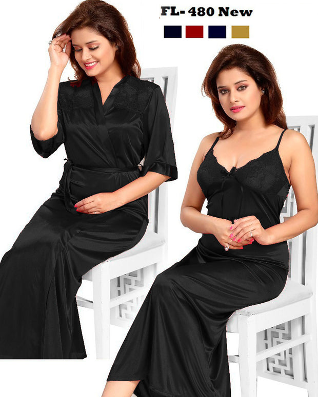 2 Pcs FL-480 - Black Flourish Exclusive Bridal Nighty Set Collection