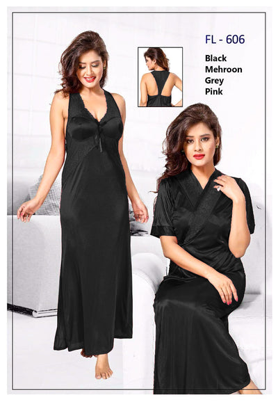 2 Pcs FL-606 - Black Flourish Exclusive Bridal Nighty Set Collection