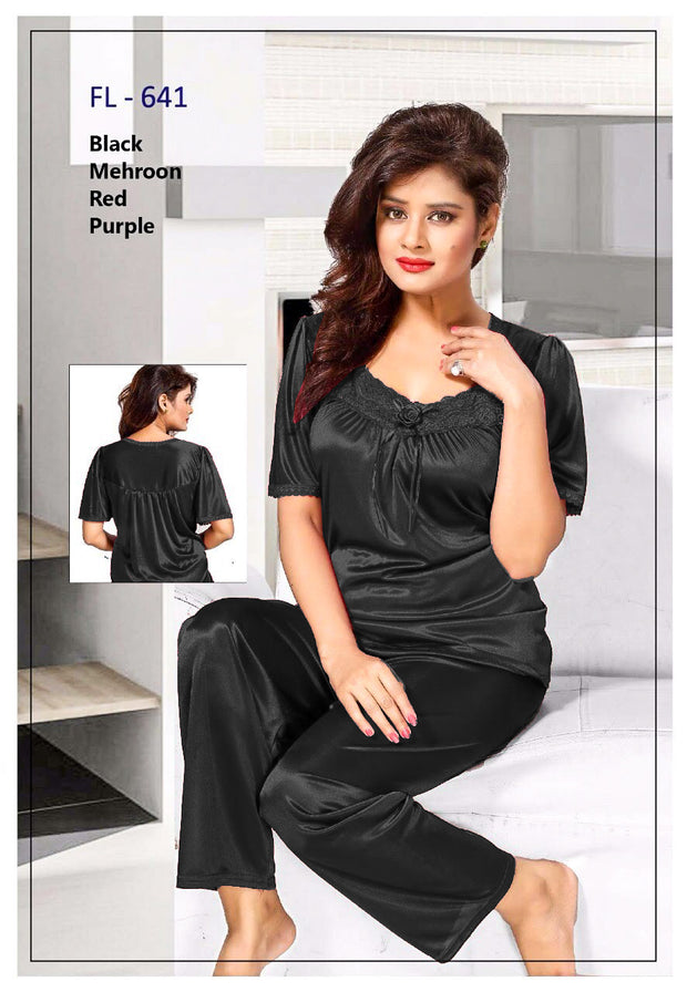 2 Pcs FL-641 - Black Flourish Exclusive Bridal Nighty Set Collection