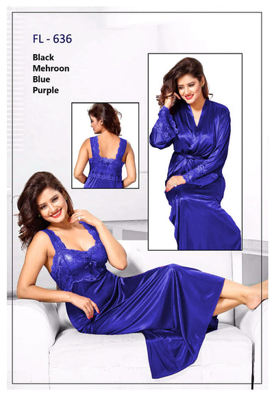 2 Pcs FL-636 - Blue Flourish Exclusive Bridal Nighty Set Collection