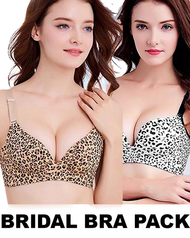 Pack Of 2 Bridal Cheetah Style Bra - Single Padded Non Wired