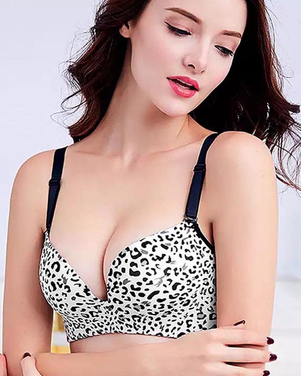 Bridal Cheetah Style Bra - Single Padded Non Wired - Black & White
