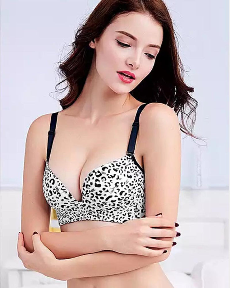 Bridal Cheetah Style Bra - Single Padded Non Wired - Black And White