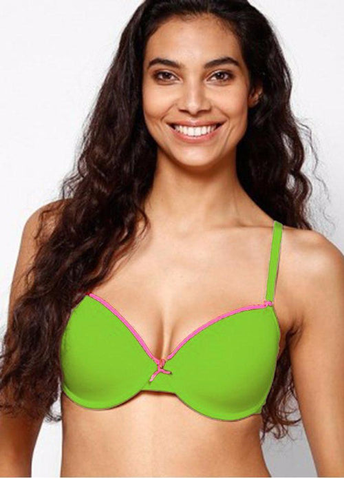 Fluorescent Green Single Padded Bra & Panty Set with Removable Straps - Bra Panty Sets - diKHAWA Online Shopping in Pakistan