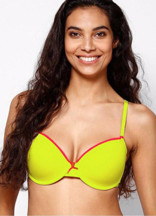 Fluorescent Yellow Single Padded Bra & Panty Set with Removable Straps - Bra Panty Sets - diKHAWA Online Shopping in Pakistan