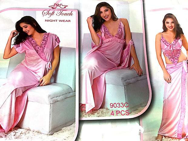 Hot Pink Bridal Nighty Set - 4 Pcs Set 9033C - Nighty Sets - diKHAWA Online Shopping in Pakistan