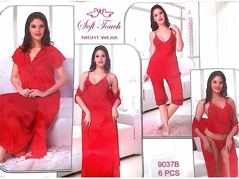 Hot Red Bridal Nighty Sets  - 6 Pcs Set - 9037B - Nighty Sets - diKHAWA Online Shopping in Pakistan