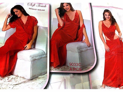 Red Nighty Sets For Newly Weds Brides - 9033C - 4 Pieces Nighty Sets - Nighty Sets - diKHAWA Online Shopping in Pakistan