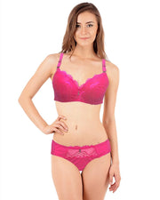 Bridal Pink 801625 Double Padded Pushup Bra Panty Set - By Senselle