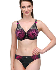 Bridal Pink & Black 801620 Single Padded Bra Panty Set - By Senselle