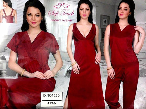 Bridal Nighty Set & Honeymoon Nighty Sets - 1250 - 4 Pieces Nighty Sets - Nighty Sets - diKHAWA Online Shopping in Pakistan