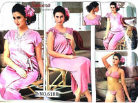 Baby Pink Wedding Nighty Sets For Bridals - 618B - 6 Pieces Nighty Sets - Nighty Sets - diKHAWA Online Shopping in Pakistan