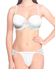 Bridal White K20005 Double Padded Bra Panty Set - By Kailanni