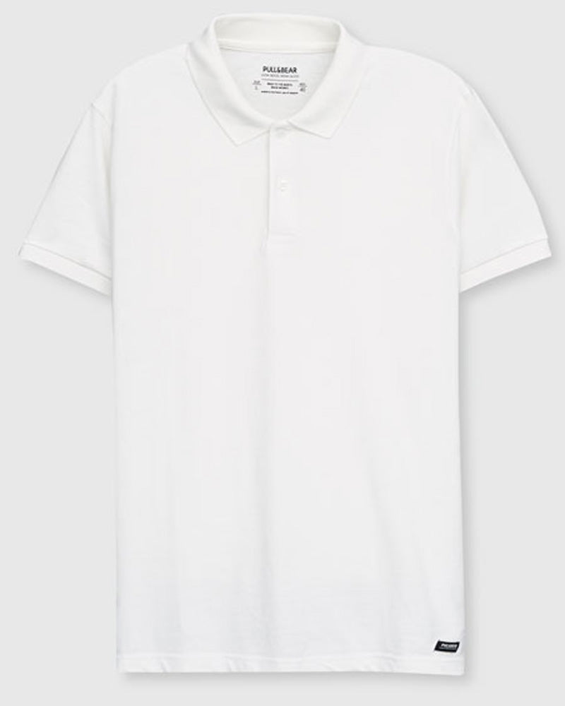 Pull & Bear Branded Polo T-Shirt For Mens - White Polo Branded T-Shirts