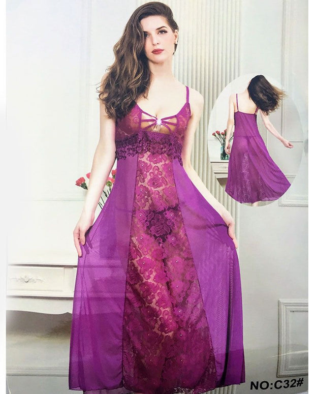 Bridal Honeymoon Sexy Long Nighty - C32 - Nighty - diKHAWA Online Shopping in Pakistan